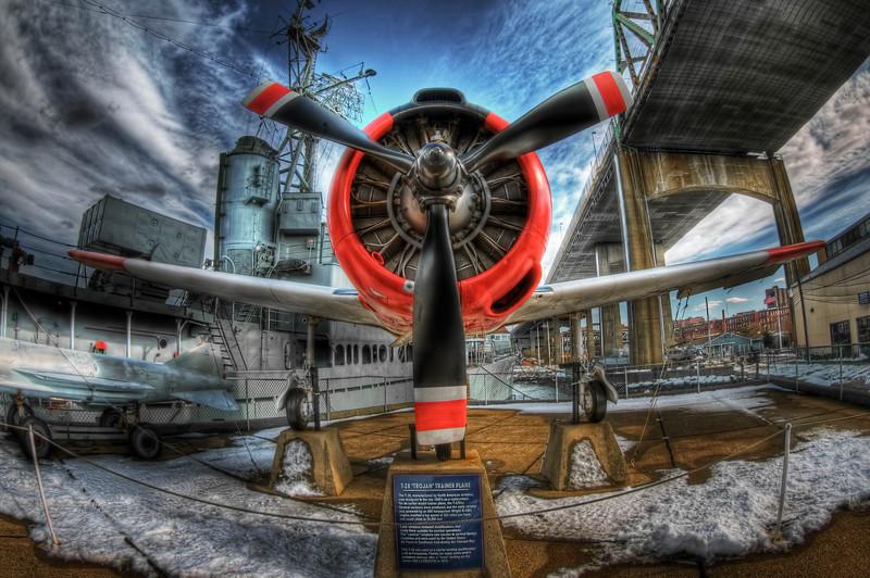 """T-28 Trojan Trainer Plane""<br /> Battleship Cove<br /> Fall River, MA<br /> February 15th, 2010"